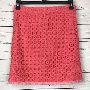 J Crew Factory Coral Eyelet Skirt Hem Down Size 4